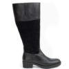 botas caña ancha negras en piel y serraje