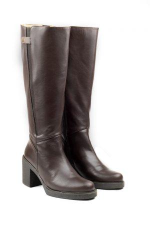 botas marrón oscuras con tacón caña ancha
